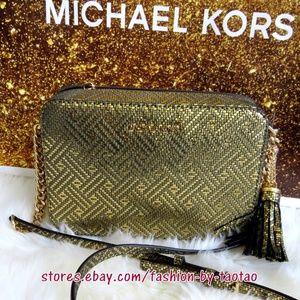New MICHAEL KORS GINNY Medium Camera bag Gold